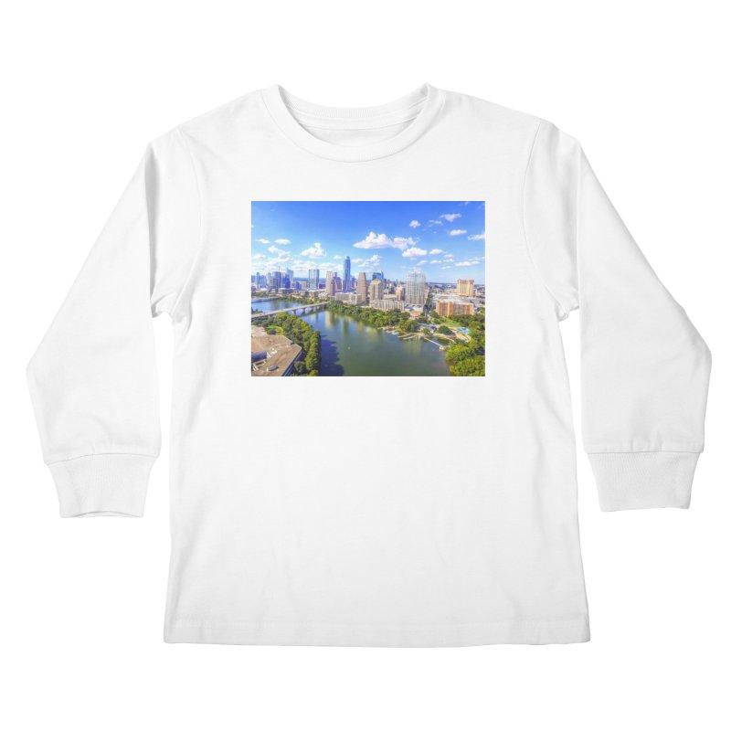 Austin Ladybird Skyline / Custom Merchandise / Aerial Photography Kids Longsleeve T-Shirt by Holp Photography Artist Shop