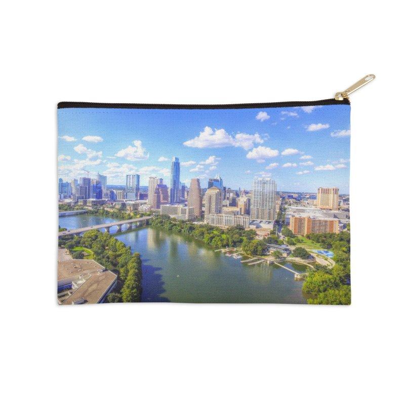 Austin Ladybird Skyline / Custom Merchandise / Aerial Photography Accessories Zip Pouch by Holp Photography Artist Shop