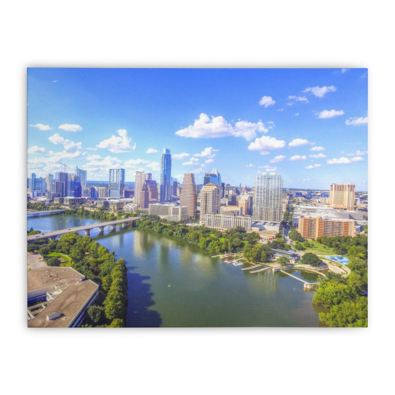 Austin Ladybird Skyline / Custom Merchandise / Aerial Photography Home Stretched Canvas by Holp Photography Artist Shop