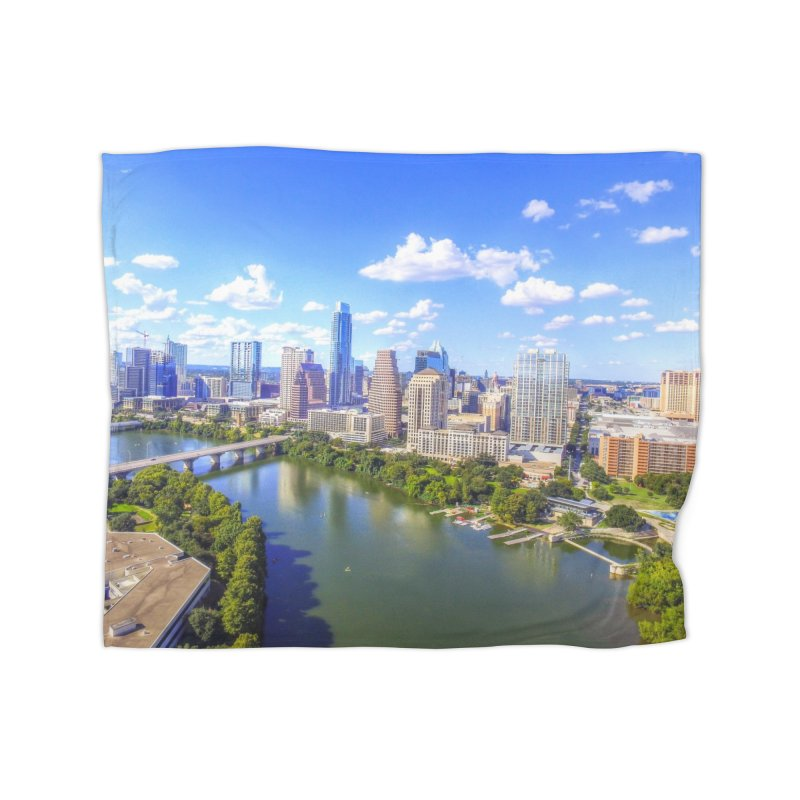 Austin Ladybird Skyline / Custom Merchandise / Aerial Photography Home Fleece Blanket Blanket by Holp Photography Artist Shop
