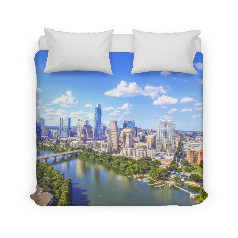 Austin Ladybird Skyline / Custom Merchandise / Aerial Photography Home Duvet by Holp Photography Artist Shop