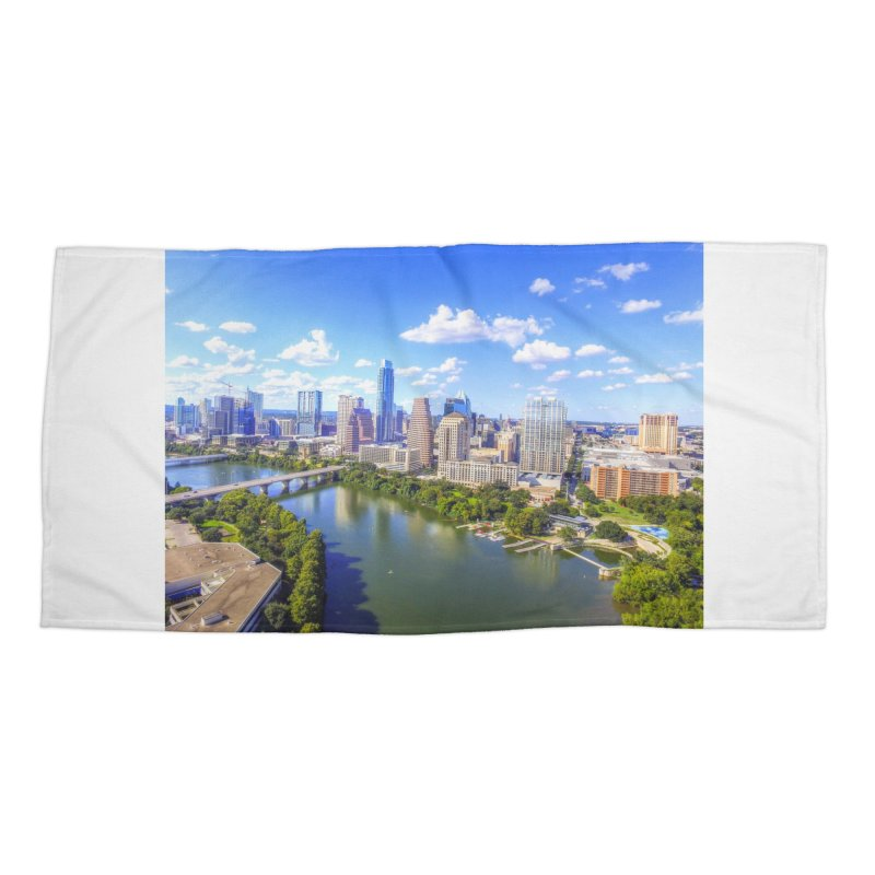 Austin Ladybird Skyline / Custom Merchandise / Aerial Photography Accessories Beach Towel by Holp Photography Artist Shop