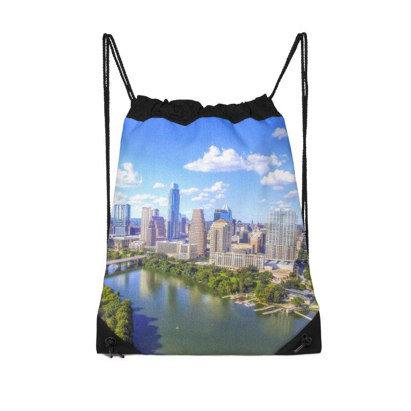 Austin Ladybird Skyline / Custom Merchandise / Aerial Photography Accessories Drawstring Bag Bag by Holp Photography Artist Shop