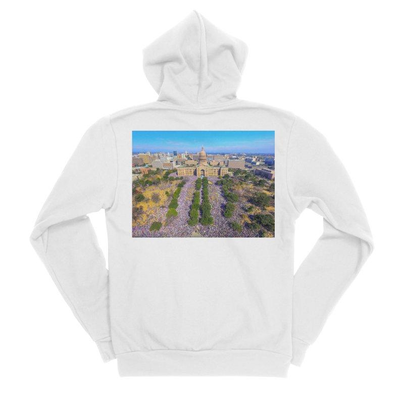 Capitol Women's March / Custom Merchandise / Aerial Photography Men's Sponge Fleece Zip-Up Hoody by Holp Photography Artist Shop