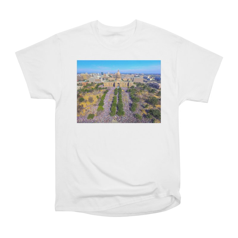 Capitol Women's March / Custom Merchandise / Aerial Photography Men's Heavyweight T-Shirt by Holp Photography Artist Shop