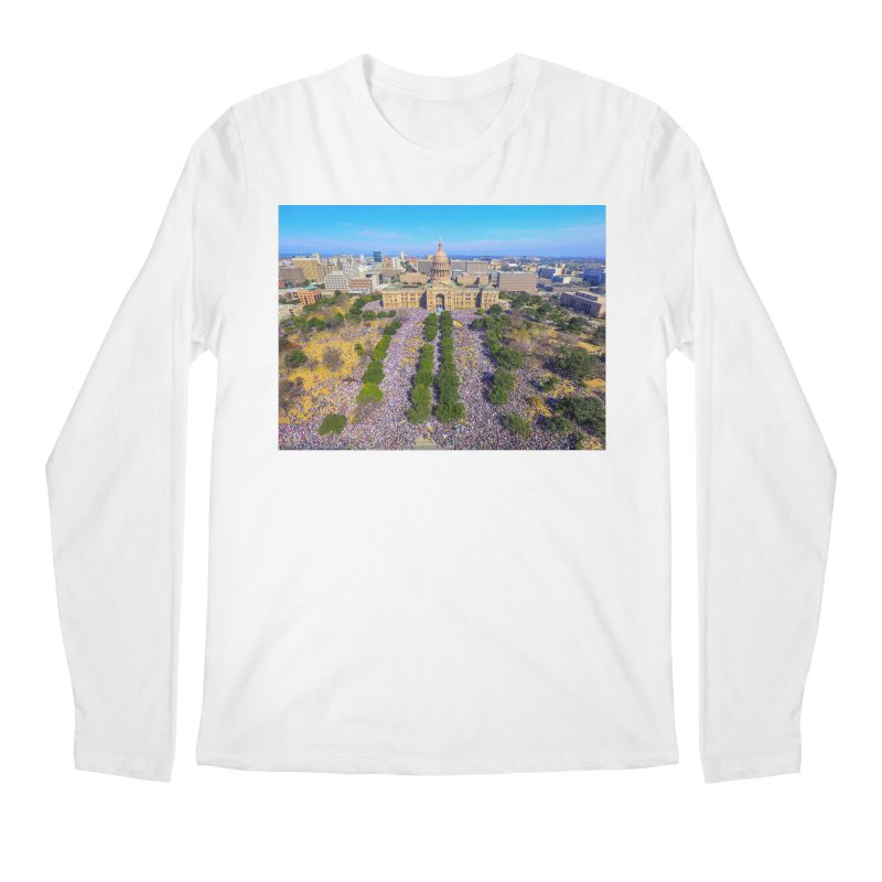 Capitol Women's March / Custom Merchandise / Aerial Photography Men's Regular Longsleeve T-Shirt by Holp Photography Artist Shop