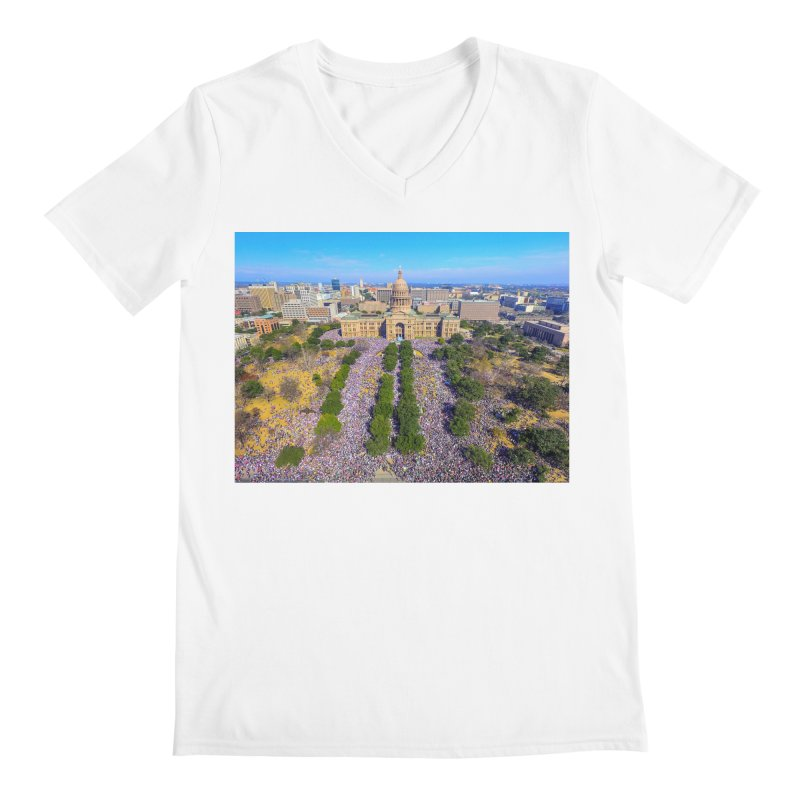 Capitol Women's March / Custom Merchandise / Aerial Photography Men's V-Neck by Holp Photography Artist Shop