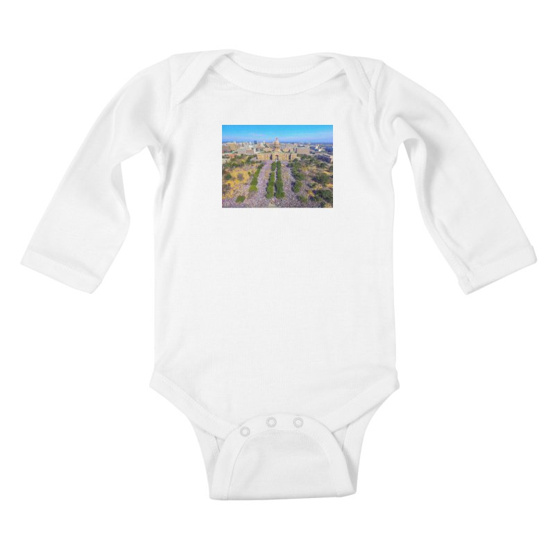 Capitol Women's March / Custom Merchandise / Aerial Photography Kids Baby Longsleeve Bodysuit by Holp Photography Artist Shop