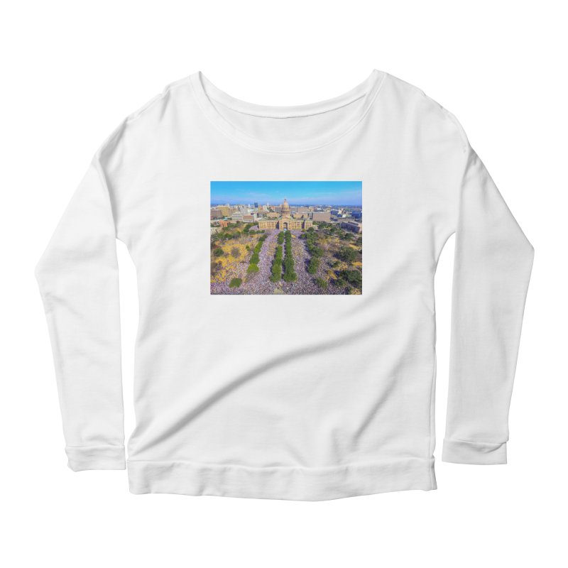 Capitol Women's March / Custom Merchandise / Aerial Photography Women's Scoop Neck Longsleeve T-Shirt by Holp Photography Artist Shop