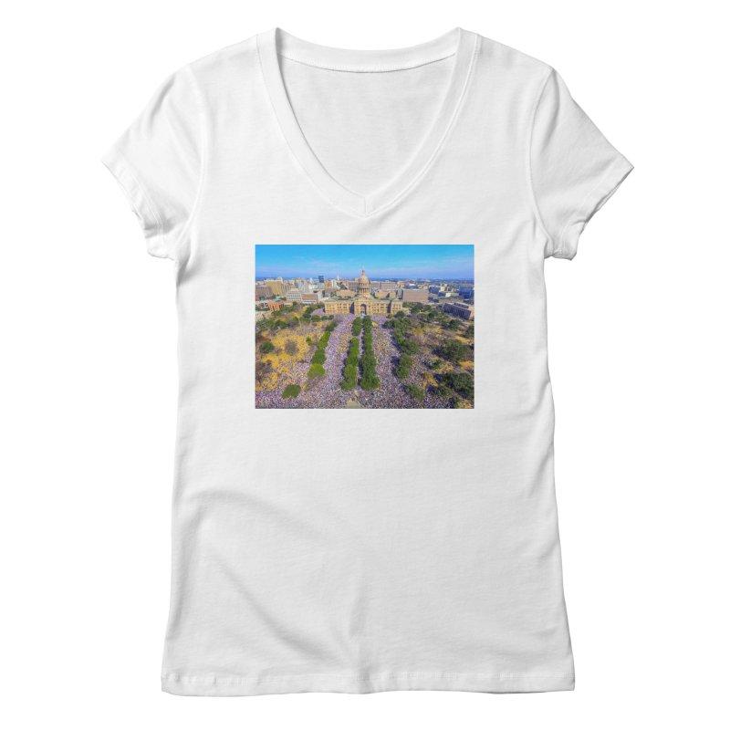 Capitol Women's March / Custom Merchandise / Aerial Photography Women's Regular V-Neck by Holp Photography Artist Shop