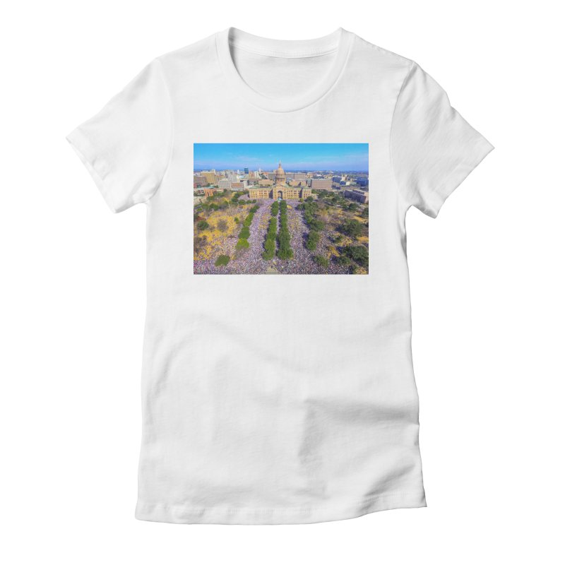 Capitol Women's March / Custom Merchandise / Aerial Photography Women's Fitted T-Shirt by Holp Photography Artist Shop