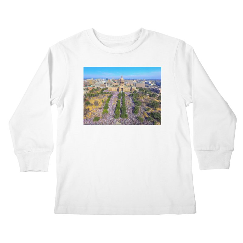 Capitol Women's March / Custom Merchandise / Aerial Photography Kids Longsleeve T-Shirt by Holp Photography Artist Shop