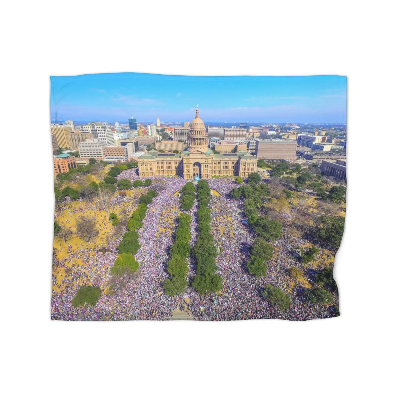 Capitol Women's March / Custom Merchandise / Aerial Photography Home Fleece Blanket Blanket by Holp Photography Artist Shop