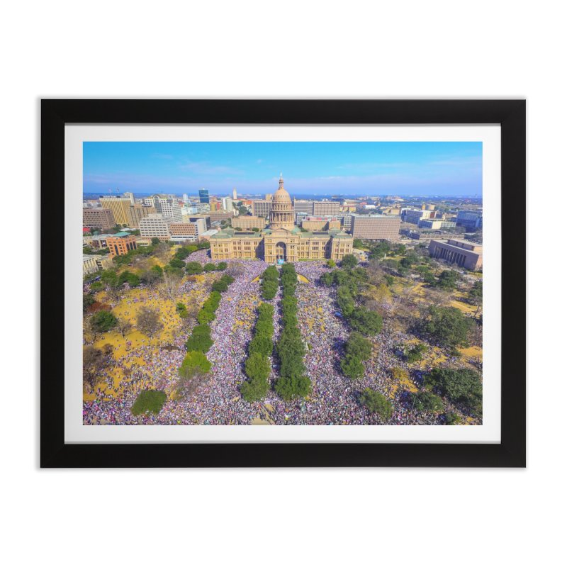Capitol Women's March / Custom Merchandise / Aerial Photography Home Framed Fine Art Print by Holp Photography Artist Shop