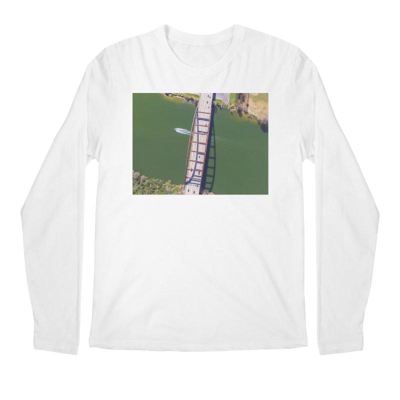 Over Pennybacker Bridge / Custom Merchandise / Aerial Photography Men's Regular Longsleeve T-Shirt by Holp Photography Artist Shop