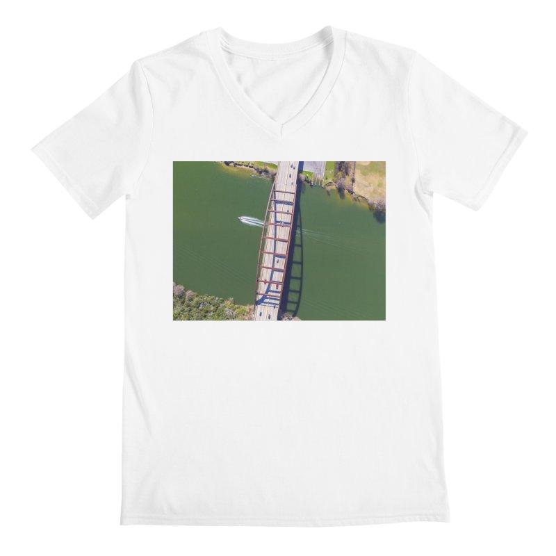 Over Pennybacker Bridge / Custom Merchandise / Aerial Photography Men's Regular V-Neck by Holp Photography Artist Shop