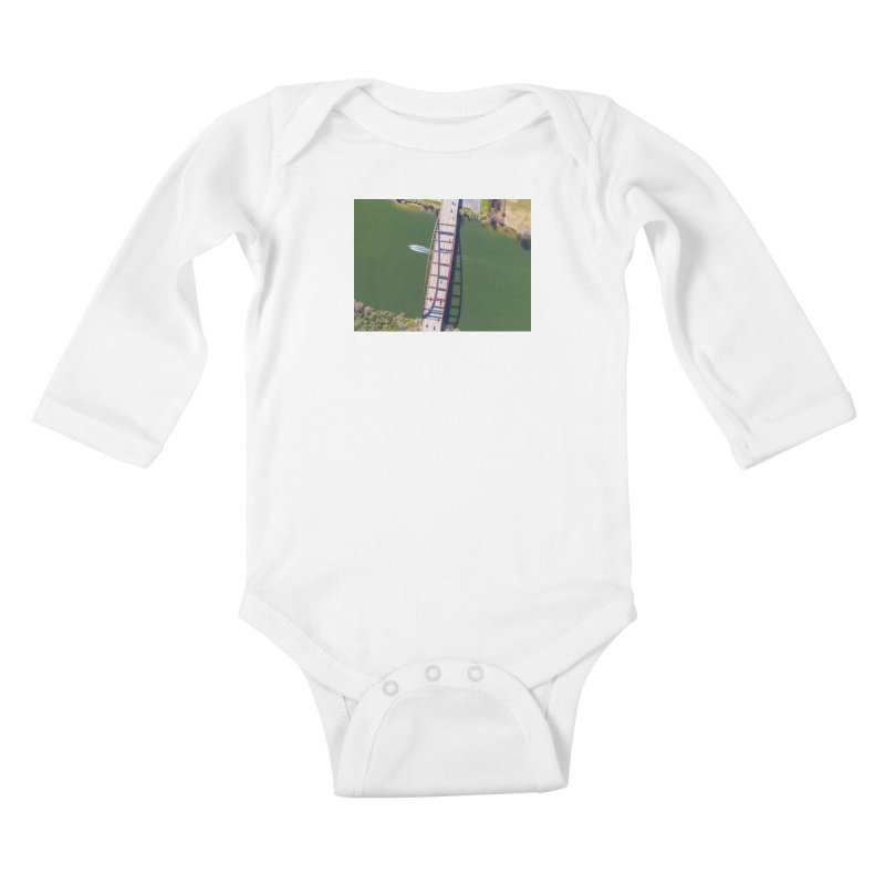 Over Pennybacker Bridge / Custom Merchandise / Aerial Photography Kids Baby Longsleeve Bodysuit by Holp Photography Artist Shop