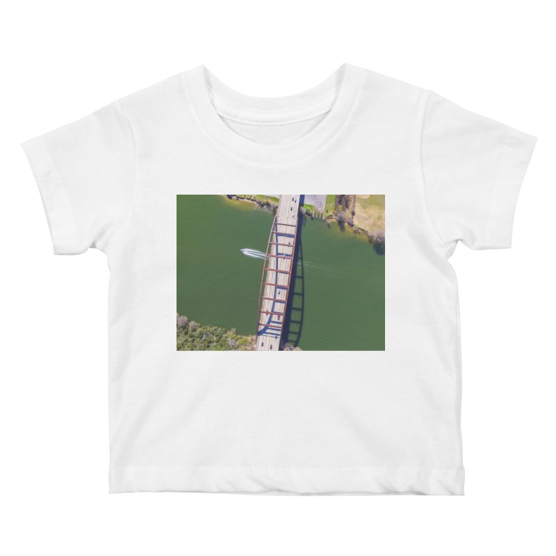 Over Pennybacker Bridge / Custom Merchandise / Aerial Photography Kids Baby T-Shirt by Holp Photography Artist Shop