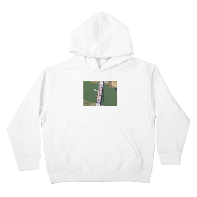Over Pennybacker Bridge / Custom Merchandise / Aerial Photography Kids Pullover Hoody by Holp Photography Artist Shop