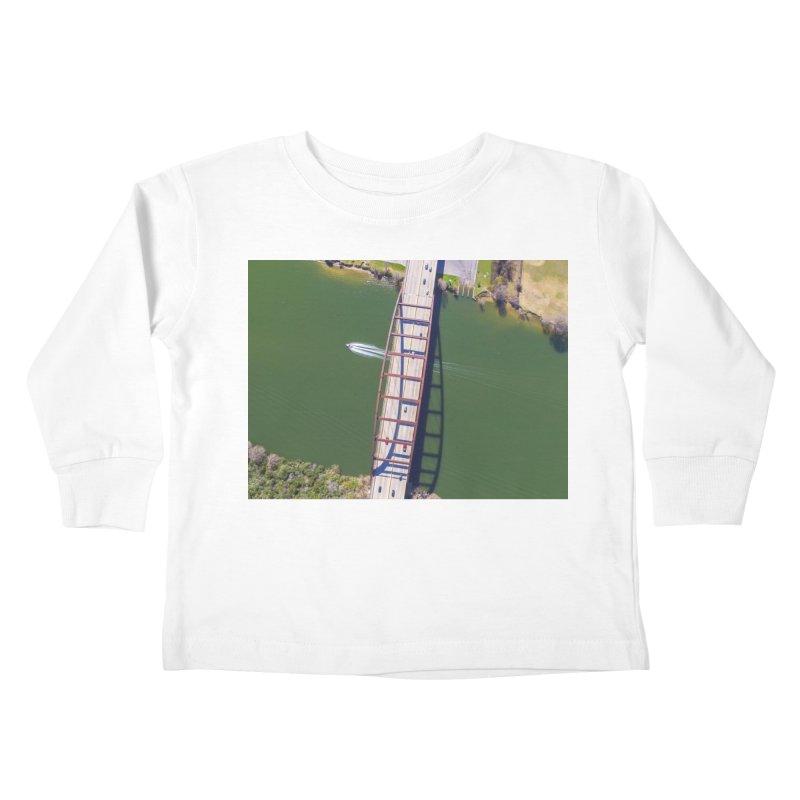 Over Pennybacker Bridge / Custom Merchandise / Aerial Photography Kids Toddler Longsleeve T-Shirt by Holp Photography Artist Shop