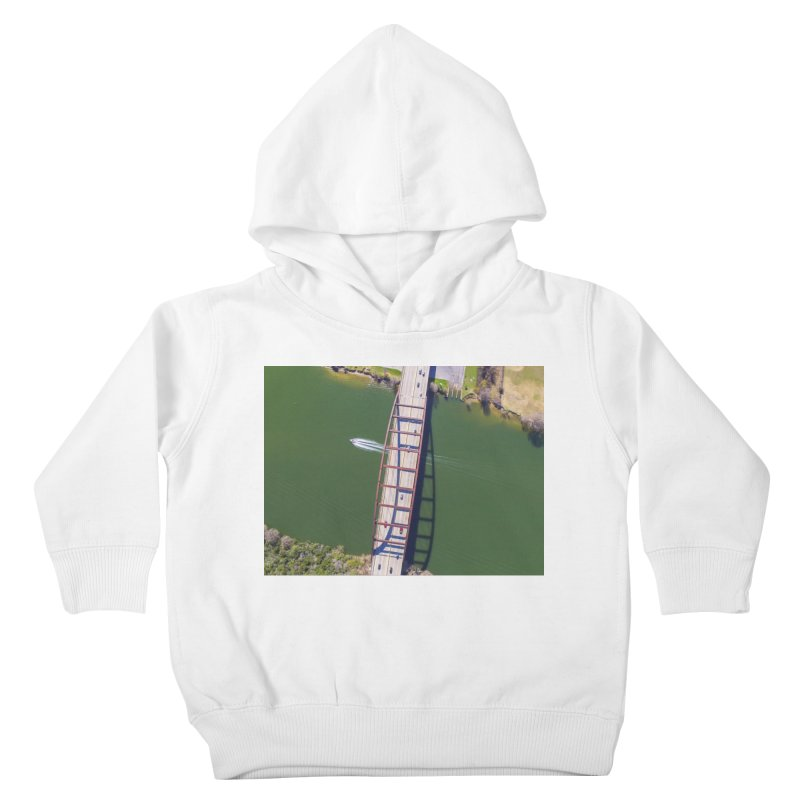 Over Pennybacker Bridge / Custom Merchandise / Aerial Photography Kids Toddler Pullover Hoody by Holp Photography Artist Shop
