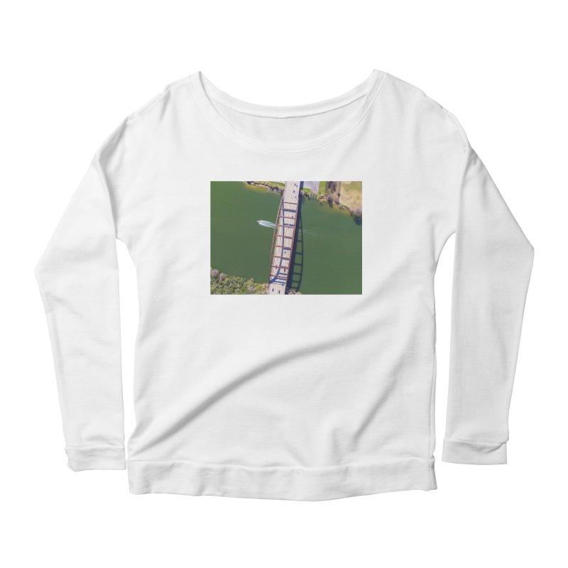 Over Pennybacker Bridge / Custom Merchandise / Aerial Photography Women's Scoop Neck Longsleeve T-Shirt by Holp Photography Artist Shop