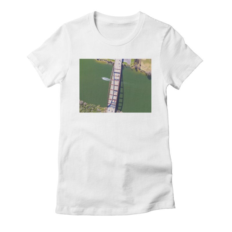 Over Pennybacker Bridge / Custom Merchandise / Aerial Photography Women's Fitted T-Shirt by Holp Photography Artist Shop