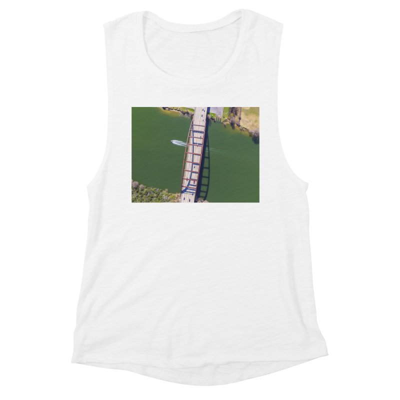 Over Pennybacker Bridge / Custom Merchandise / Aerial Photography Women's Muscle Tank by Holp Photography Artist Shop