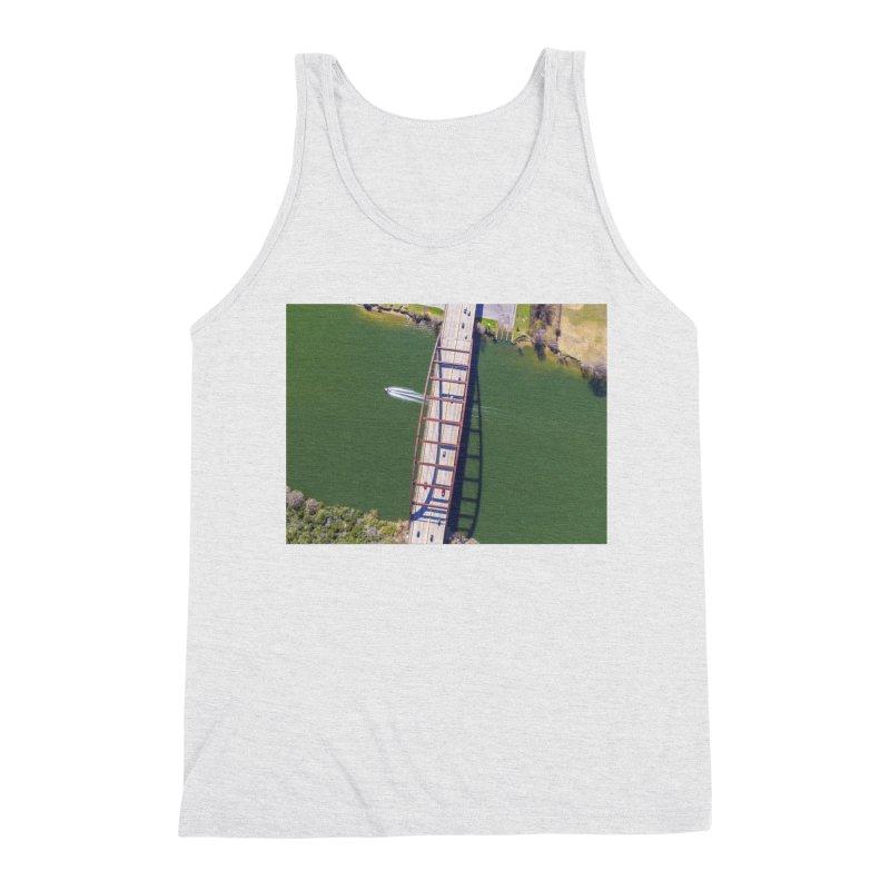 Over Pennybacker Bridge / Custom Merchandise / Aerial Photography Men's Triblend Tank by Holp Photography Artist Shop