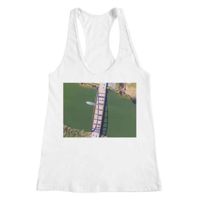 Over Pennybacker Bridge / Custom Merchandise / Aerial Photography Women's Racerback Tank by Holp Photography Artist Shop