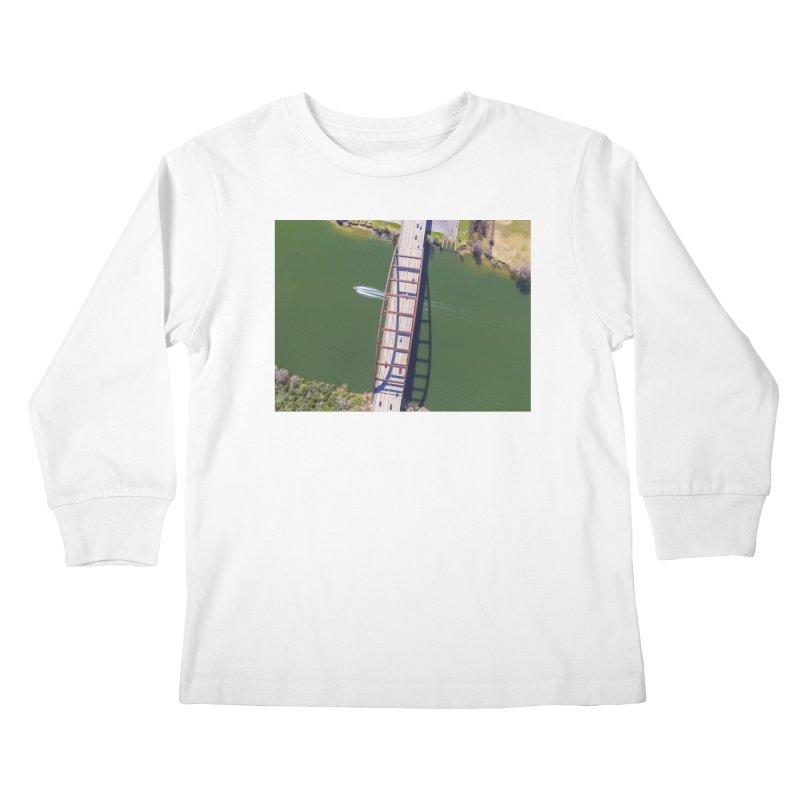 Over Pennybacker Bridge / Custom Merchandise / Aerial Photography Kids Longsleeve T-Shirt by Holp Photography Artist Shop