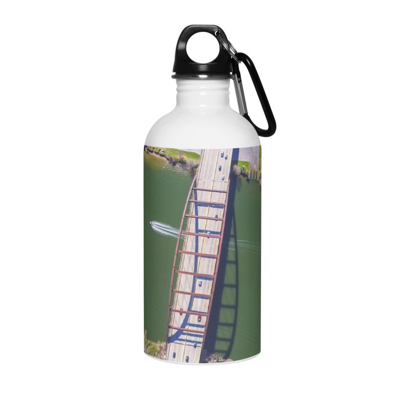 Over Pennybacker Bridge / Custom Merchandise / Aerial Photography Accessories Water Bottle by Holp Photography Artist Shop