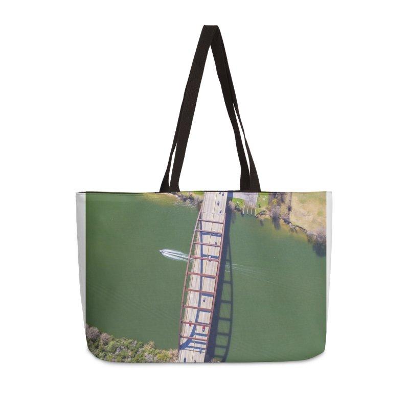 Over Pennybacker Bridge / Custom Merchandise / Aerial Photography Accessories Weekender Bag Bag by Holp Photography Artist Shop