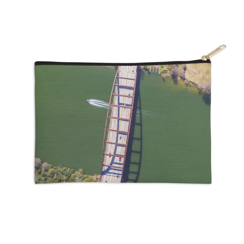 Over Pennybacker Bridge / Custom Merchandise / Aerial Photography Accessories Zip Pouch by Holp Photography Artist Shop