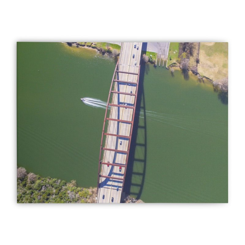 Over Pennybacker Bridge / Custom Merchandise / Aerial Photography Home Stretched Canvas by Holp Photography Artist Shop