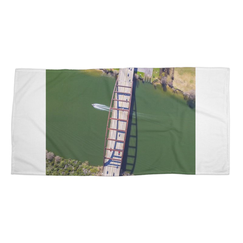 Over Pennybacker Bridge / Custom Merchandise / Aerial Photography Accessories Beach Towel by Holp Photography Artist Shop