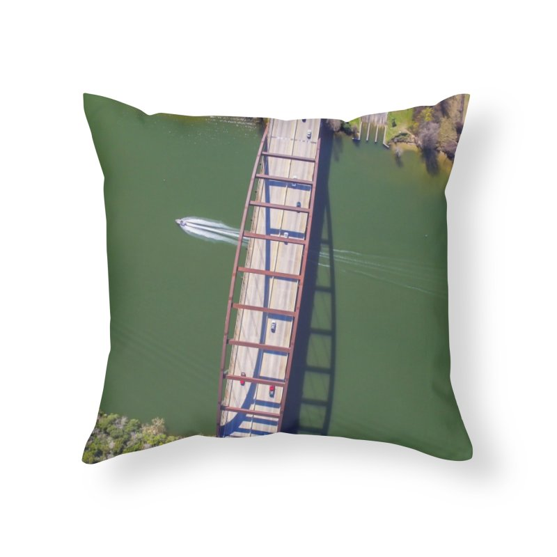 Over Pennybacker Bridge / Custom Merchandise / Aerial Photography Home Throw Pillow by Holp Photography Artist Shop