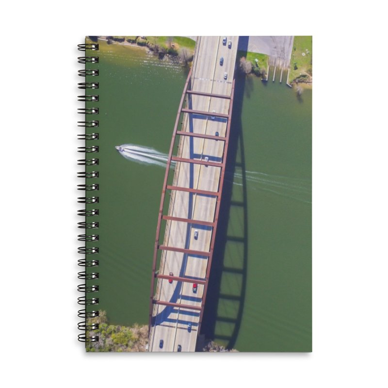 Over Pennybacker Bridge / Custom Merchandise / Aerial Photography Accessories Lined Spiral Notebook by Holp Photography Artist Shop