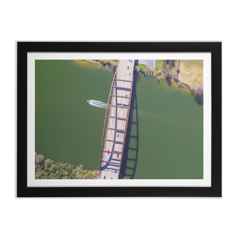 Over Pennybacker Bridge / Custom Merchandise / Aerial Photography Home Framed Fine Art Print by Holp Photography Artist Shop