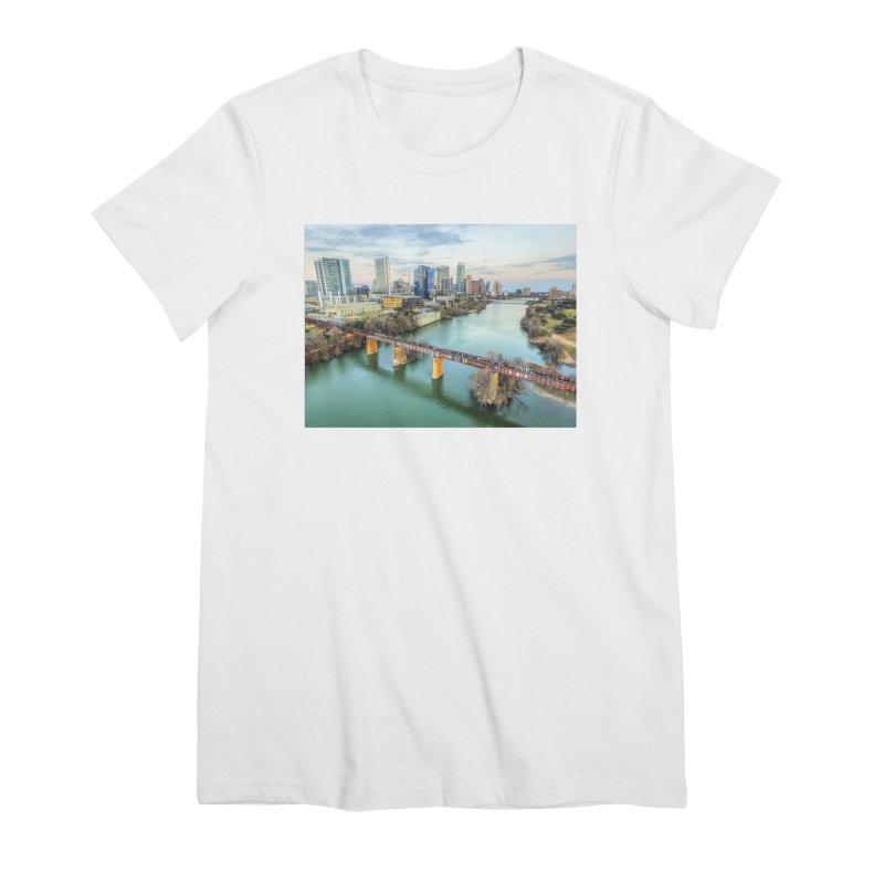 Austin Skyline Bridge / Custom Merchandise / Aerial Photography Women's Premium T-Shirt by Holp Photography Artist Shop