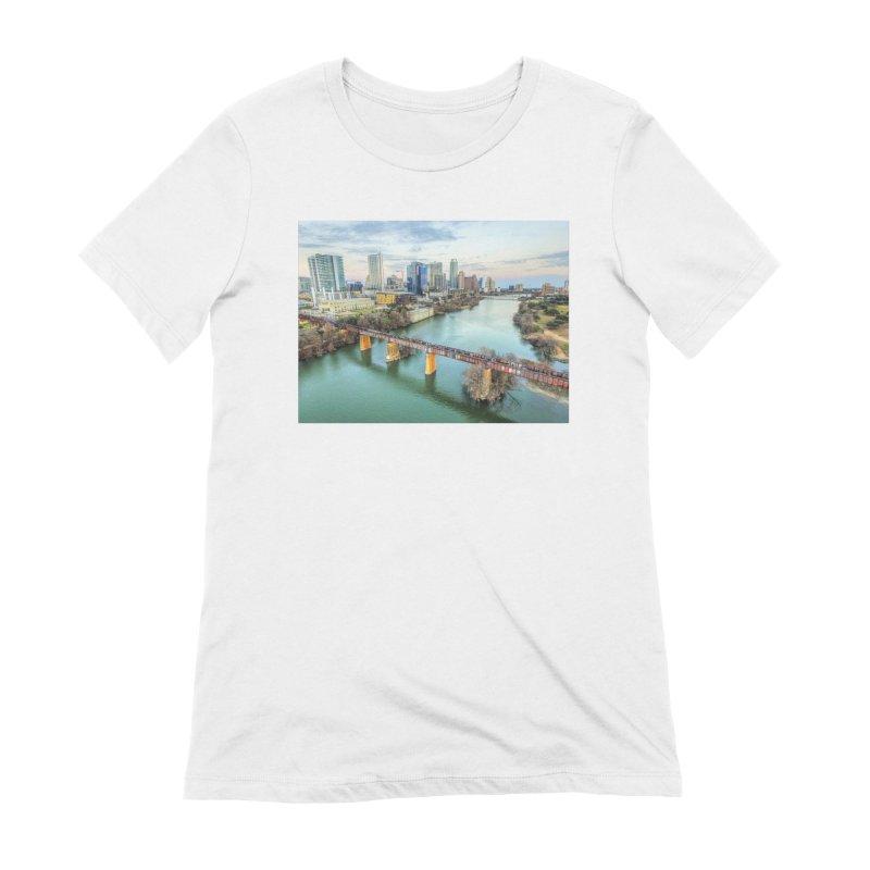 Austin Skyline Bridge / Custom Merchandise / Aerial Photography Women's Extra Soft T-Shirt by Holp Photography Artist Shop