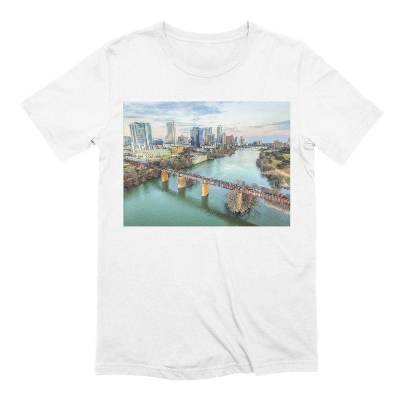 Austin Skyline Bridge / Custom Merchandise / Aerial Photography Men's Extra Soft T-Shirt by Holp Photography Artist Shop