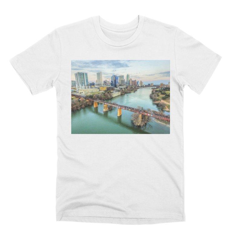 Austin Skyline Bridge / Custom Merchandise / Aerial Photography Men's Premium T-Shirt by Holp Photography Artist Shop