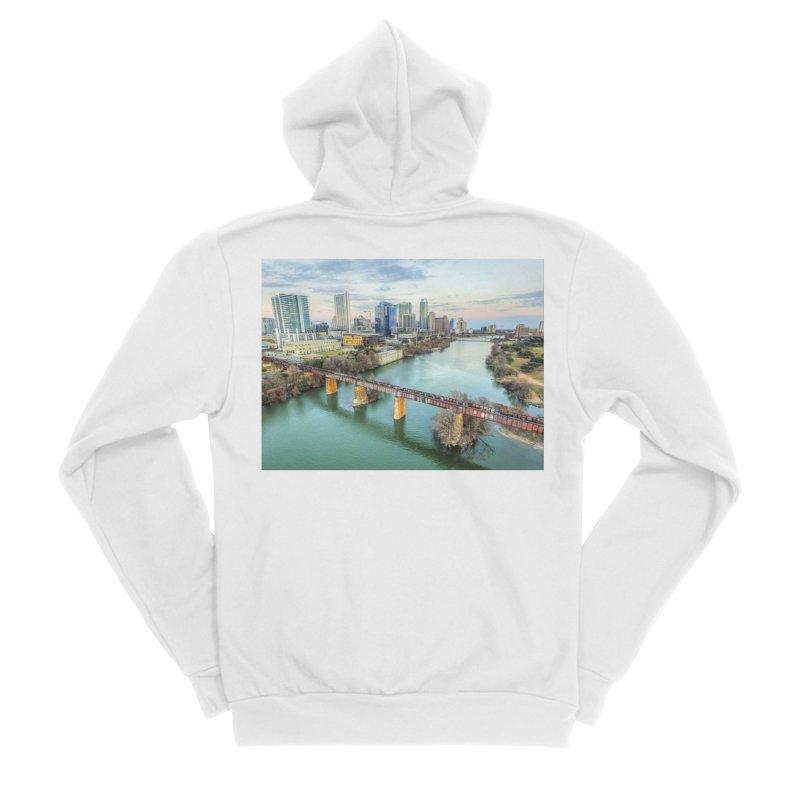 Austin Skyline Bridge / Custom Merchandise / Aerial Photography Men's Sponge Fleece Zip-Up Hoody by Holp Photography Artist Shop