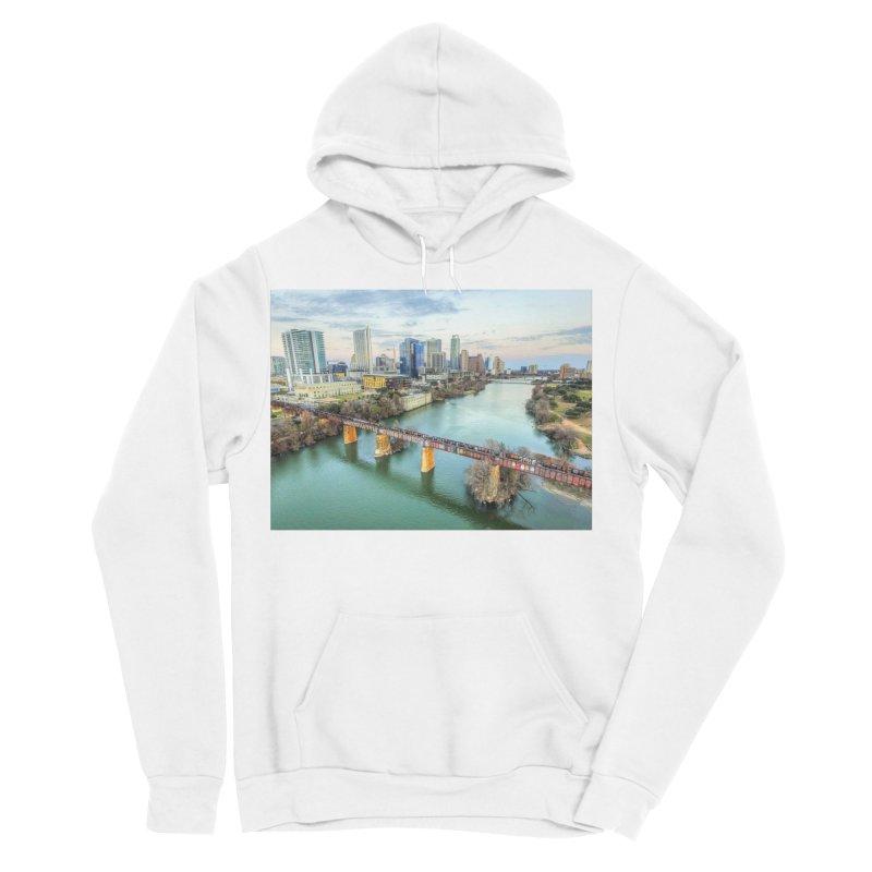 Austin Skyline Bridge / Custom Merchandise / Aerial Photography Women's Sponge Fleece Pullover Hoody by Holp Photography Artist Shop