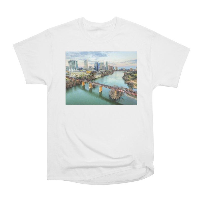 Austin Skyline Bridge / Custom Merchandise / Aerial Photography Women's Heavyweight Unisex T-Shirt by Holp Photography Artist Shop