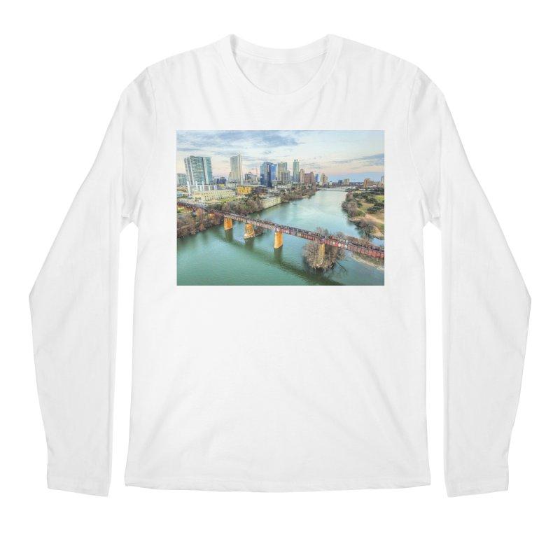 Austin Skyline Bridge / Custom Merchandise / Aerial Photography Men's Regular Longsleeve T-Shirt by Holp Photography Artist Shop