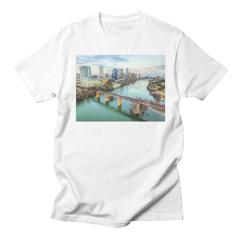 Austin Skyline Bridge / Custom Merchandise / Aerial Photography Men's Regular T-Shirt by Holp Photography Artist Shop