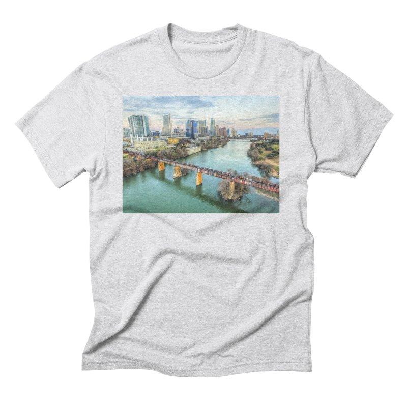 Austin Skyline Bridge / Custom Merchandise / Aerial Photography Men's Triblend T-Shirt by Holp Photography Artist Shop