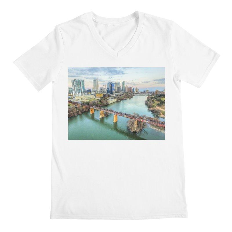 Austin Skyline Bridge / Custom Merchandise / Aerial Photography Men's Regular V-Neck by Holp Photography Artist Shop